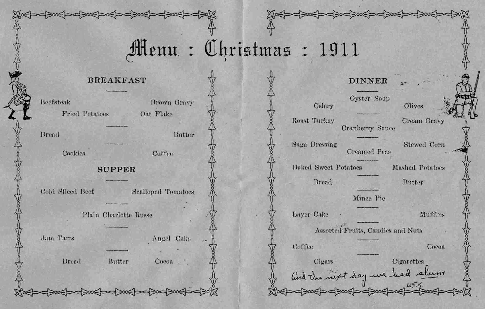 christmas 1911 menu