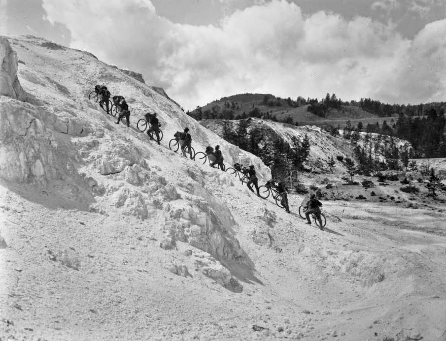 The 25th Infantry bicyclists climb Minerva Rerrace in Yellowstone National Park